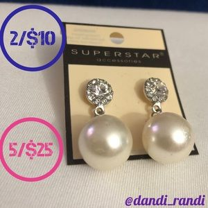 Superstar Accessories Synthetic Pearl Earrings NOC